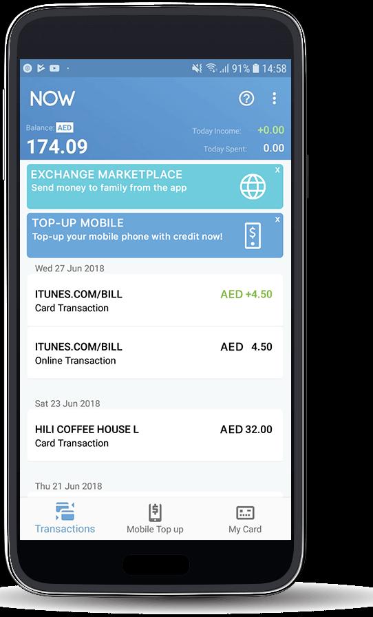Smartphone running NOW Money app