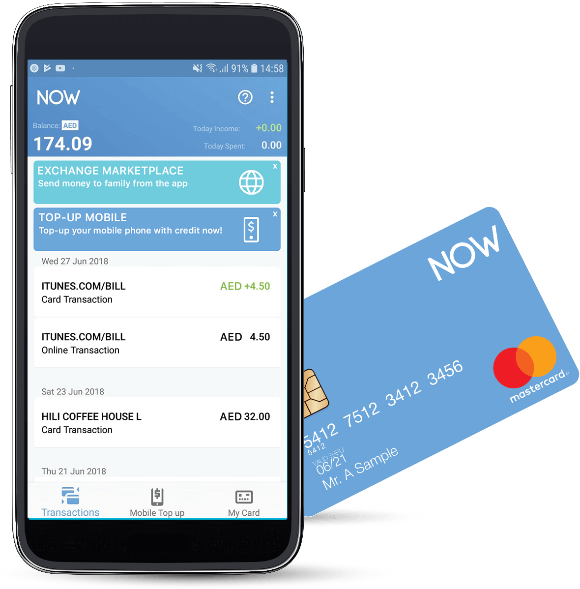 Smartphone running NOW Money app and NOW Money debit card
