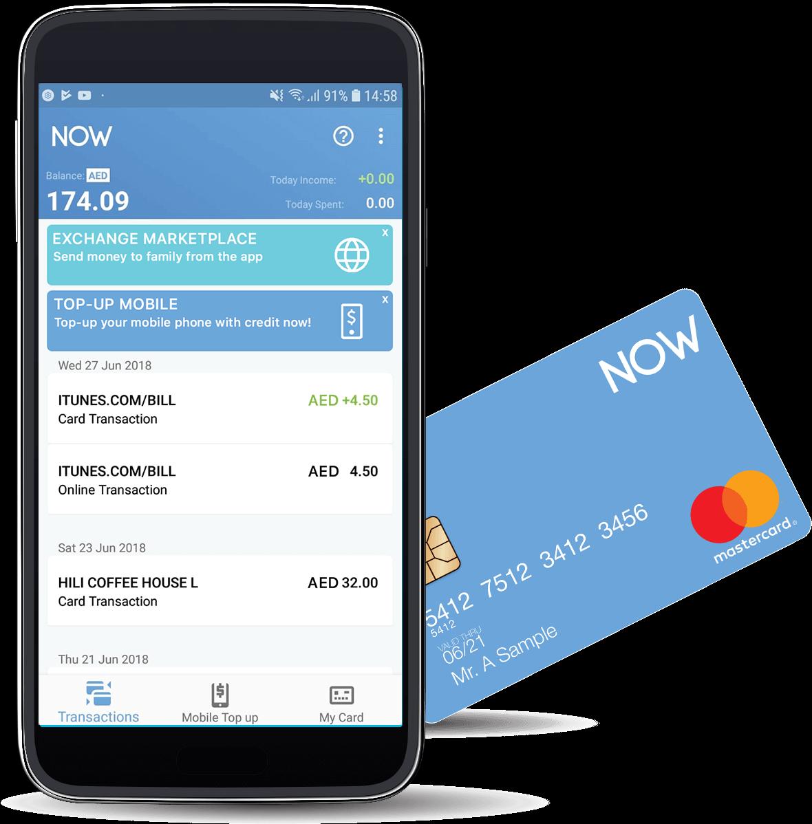 Smartphone running NOW Money app and NOW Money debit card